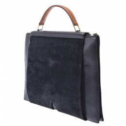 Hermes Black/Green/Brown Leather Suede And Lizard Leather President Briefcase 280257