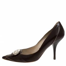 Dior Brown Leather Pointed Toe Logo Pumps Size 37 280488