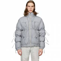 SSENSE Exclusive Silver Down Reflective String Jacket Post Archive Faction PAF 1.0 L-OD RF