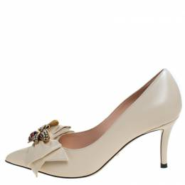 Gucci Cream Leather Embellished Bow Queen Margaret Pumps Size 36.5 280628