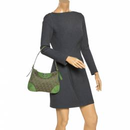 Dkny Green Monogram Canvas and Lizard Embossed Leather Small Shoulder Bag