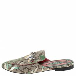 Gucci Multicolor GG Supreme Monogram Coated Canvas Tian Princetown Flat Mules Size 43.5