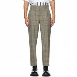 Neil Barrett Beige and Black Check Suiting Trousers BPA770 N083
