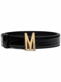 Moschino M buckle crocodile-effect belt A80418008