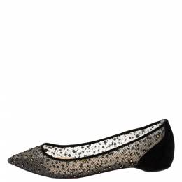 Christian Louboutin Black Mesh And Suede Follies Strass Ballet Flats Size 36 282280