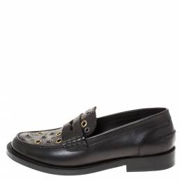 Burberry	 Black Leather Bedmont Eyelet Detail Penny Loafers Size 37 282292
