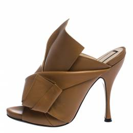 Brown Leather Ronny Pleated Mules Size 38 N21 297363