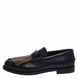 Burberry Black/Brown Leather Bedmoore Fringe Detail Penny Loafers Size 44 282382
