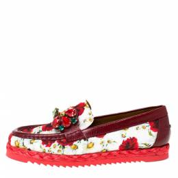 Dolce and Gabbana Red Brocade Fabric Crystal Embellished Loafers Size 36.5 282543