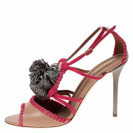 Malone Souliers Pink/Beige Leather Ruth Tassel Sandals Size 40 284875