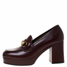 Gucci Maroon Leather Horsebit Platform Loafers Size 38 286046