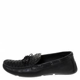 Bottega Veneta	 Black Intrecciato Leather Bow Detail Loafers Size 44 286194