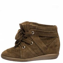 Isabel Marant Brown Suede Leather Bobby Wedge Lace Up Sneakers Size 37 286333