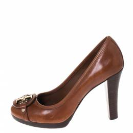 Tory Burch Brown Leather Logo Detail Pumps Size 39 286264