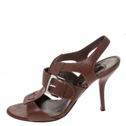Sergio Rossi Brown Leather Buckle Detail Strappy Open Toe Sandals Size 38 286387