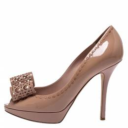 Dior Nude Beige Patent Leather Cannage Bow Peep Toe Pumps Size 39 286415