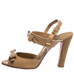 Christian Louboutin Beige Leather Bow Peep Toe Ankle Strap Sandals Size 40.5 286317