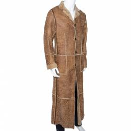 Dolce and Gabbana Beige Leather Fur Lined Long Coat S 286234