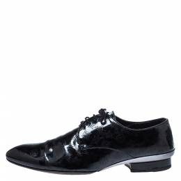 Louis Vuitton Black Perforated Monogram Patent Leather Lace Derby Size 43 286271