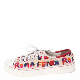 Fendi Multicolor Logo Printed Canvas Lace Low Top Sneakers Size 37 286364