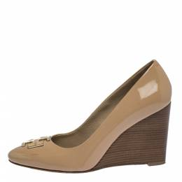 Tory Burch Beige Patent Leather Lowell New Logo Wedge Pumps Size 37 287234