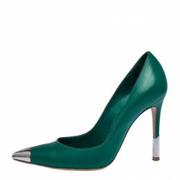 Gianvito Rossi	 Green Leather Metal Cap Toe Pointed Toe Pumps Size 36 287750