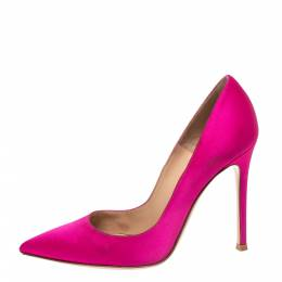 Gianvito Rossi Pink Satin Pointed Toe Pumps Size 36 290388
