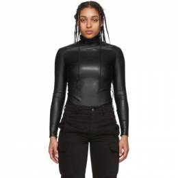 Alexander Wang Black Pleather Turtleneck Bodysuit 1WC1207082