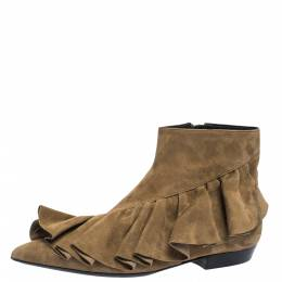 J.W. Anderson Brown Suede Leather Frill Detail Ankle Boots Size 36 290684