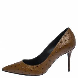 Giuseppe Zanotti Design	 Brown Ostrich Embossed Leather Lucrezia Pointed Toe Pumps Size 38.5 290940