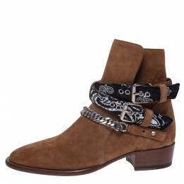 Amiri Camel Suede Chain Link Embellished Bandana Buckle Ankle Boots Size 42 291174