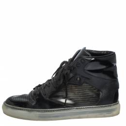 Balenciaga Black Leather and PVC Patchwork High Top Sneakers Size 41 291160