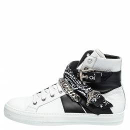 Amiri White/Black Leather Bandana Sunset Lace High Top Sneakers Size 42 291186