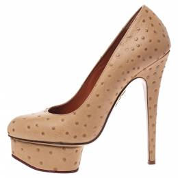 Charlotte Olympia Beige Ostrich Embossed Leather Dolly Platform Pumps Size 38 291855