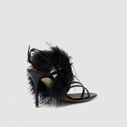 Malone Souliers Black Feather-Trimmed Leather Sandals Size IT 40.5 288709