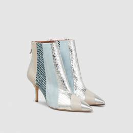 Malone Souliers Blue Amal Elaphe-Trimmed Leather Ankle Boots Size IT 40 288765