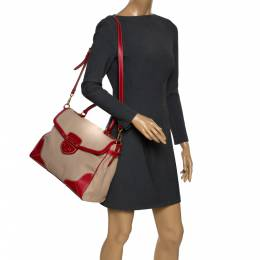 Prada Beige/Red canvas and Leather Cinghiale Top Handle Bag 292710