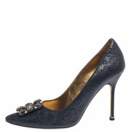 Manolo Blahnik Blue Lizard Embossed Leather Hangisi Pumps Size 39.5 294644
