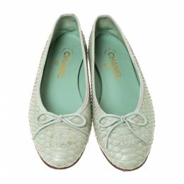 Chanel Light Green Python Bow Ballet Flats Size 38 292271