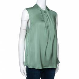 Giorgio Armani Pale Green Silk Draped Sleeveless Blouse XL 292494