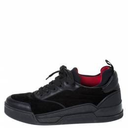 Christian Louboutin Black Leather, Suede and Fabric Aurelien Sneakers Size 43 294768