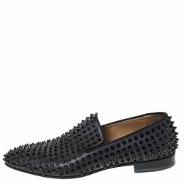 Christian Louboutin Black Leather Roller Boy Spiked Loafers Size 43 294551