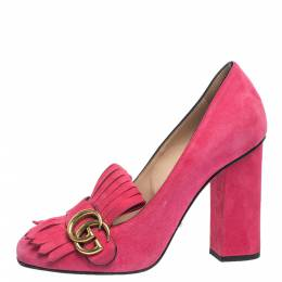 Gucci Pink Suede Leather GG Marmont Fringe Detail Block Heel Pumps Size 38 294906