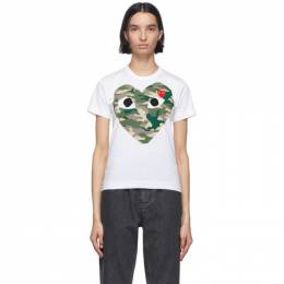 Comme des Garcons Play White Camo Half Heart T-Shirt P1T241