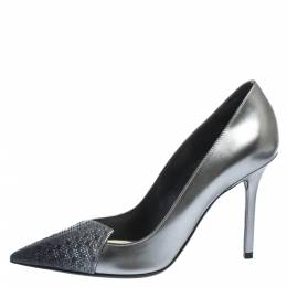 Dior Ombre Grey Patent Leather Cannage Cap Pointed Toe Pumps Size 36 294970