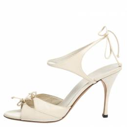 Gucci Cream Leather Open Toe Ankle Strap Sandals Size 39 294735