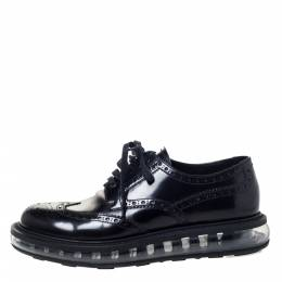 Prada Black Brogue Leather Lace Up Derby Sneakers Size 39.5 295824