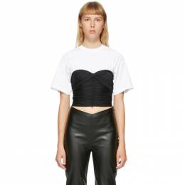 T by Alexander Wang White and Black Ruched Bodycon Hybrid T-Shirt 4CC2201162