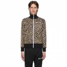 Palm Angels Beige and Black Leopard Track Jacket PMBD001E20FAB0071801