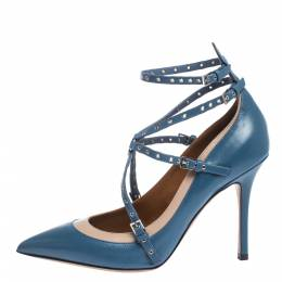 Valentino Blue/Beige Leather Rockstud Trim Ankle Wrap Pointed Toe Pumps Size 38.5 295998